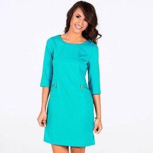 HP 🎉Tracy Negoshian turquoise blue career dress